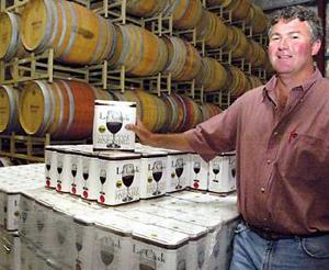 Local vintner offers quality wine in a cardboard cask