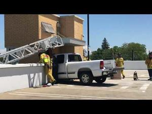 Truck crashes into elevator