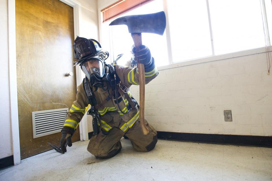 Firefighters practice window rescues