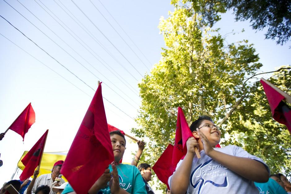 United Farm Workers march through Lodi