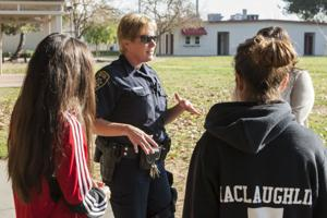 School resource officer Sylvia Coelho explains process of providing school security