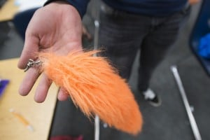 "Tokay High School Students Flock Together In Eccentric New Club: Furry Taylor ""T-dog"" Brown, 16, holds up her tail at Tokay High School in Lodi on Wednesday, Oct. 31, 2012. She clips the tail to the back of her pants.  - Dan Evans/News-Sentinel"