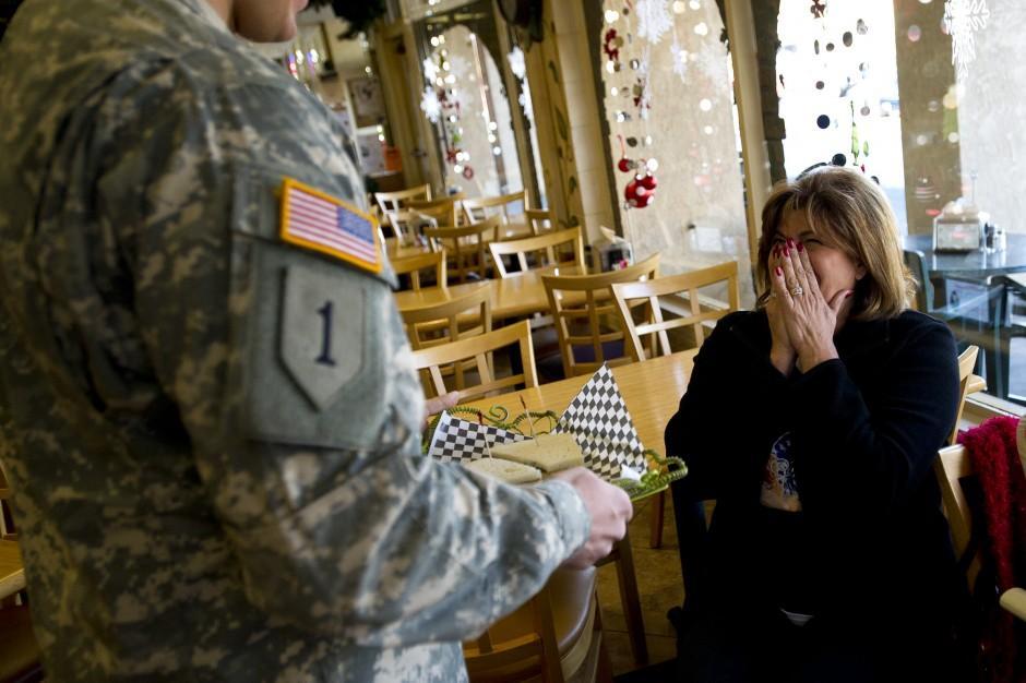 Tears flow as soldier, mom reunite