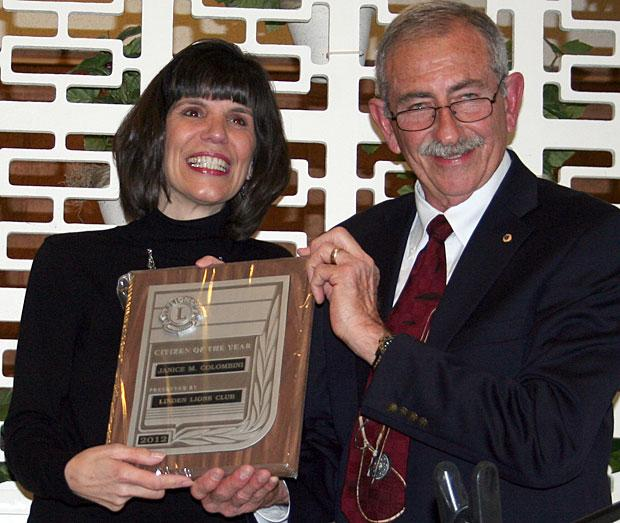 Janice Colombini receives 2012 Linden Lions Club Citizen of the Year Achievement Award
