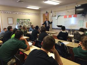 Local defense attorney Russell Humphrey visits Jim Elliot Christian High School