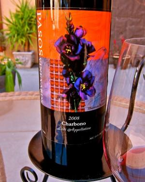 Dark ruby red 2008 Pasos Lodi Charbono is full, dense with flavors of cherry, plum and mocha