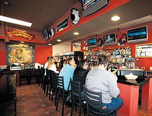 Mexican food, prepared in open kitchen, at Pancho Villas Bar and Grill