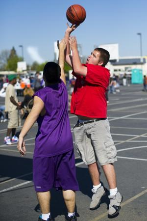 Shooting hoops and making friends