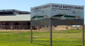 Construction of Temple Baptist Church's new building continues