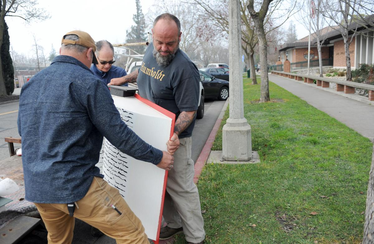 Sculpture installed in front of Lodi Public Library