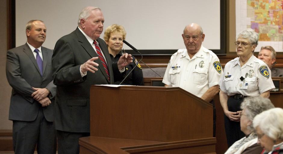 Outgoing Mayor Bob Johnson recognizes Partners, Lodi House