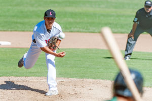 Lodi Legion Shorthanded In Defeat: Lodi Legion's Drake Tam pitches during a game against the Sacramento State Stingers at Zupo Field in Lodi on Wednesday, June 12, 2013. The Stingers took advantage of the shorthanded Lodi squad, sweeping a doubleheader 7-2 and 10-0.  - Ian Jonsson/News-Sentinel