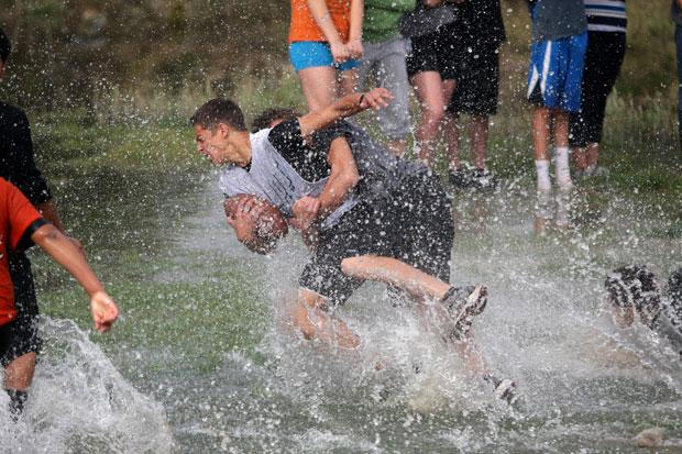 Wet and wild day of football