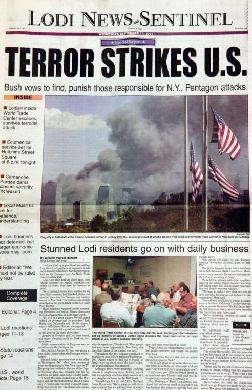 Lodi News-Sentinel front page, Wednesday, Sept. 12, 2001