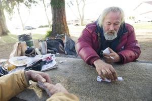 Lodi homeless fight cold