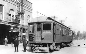 Trains rolled down Sacramento Street in early Lodi