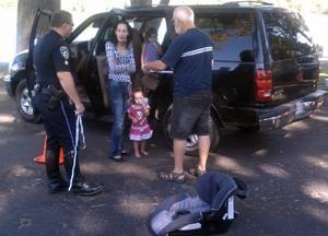 Testing and teaching child car-seat safety at Lodi Lake