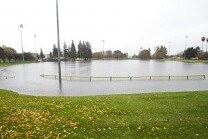 Storm Swamps Lodi: Heavy rain quickly filled up the drainage basin at Kofu Park in Lodi on Friday, Nov. 30, 2012.  - Dan Evans/News-Sentinel