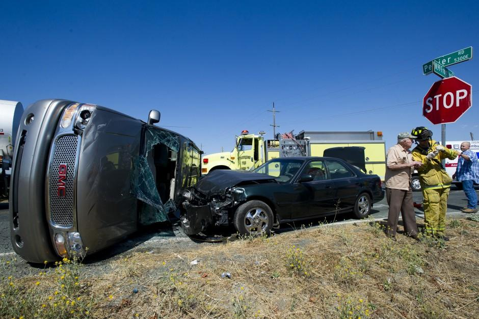Two-vehicle collision on frontage road