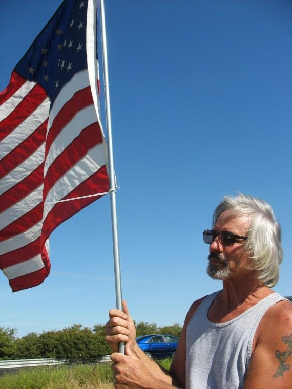 Acampo man displays row of 20 flags to commemorate death of Osama bin Laden