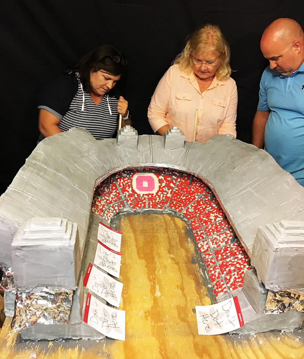 logan high school graduate is working on the 2017 ohio stadium cake along with her friends marilyn yeamans and christopher conrad 1992 lhs grad