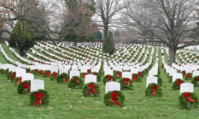 Wreaths in Arlington National Cemetery