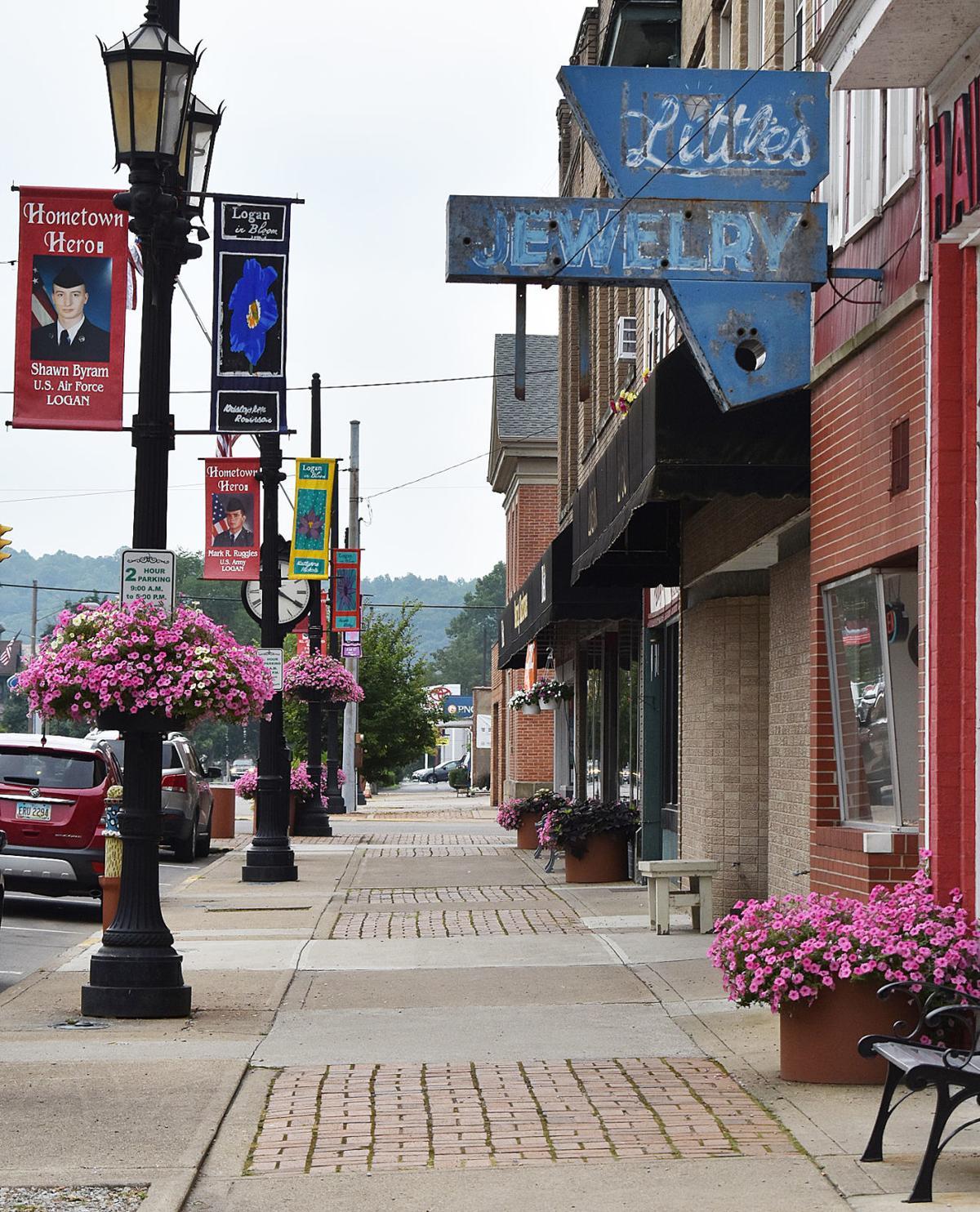 Petunias line Main Street