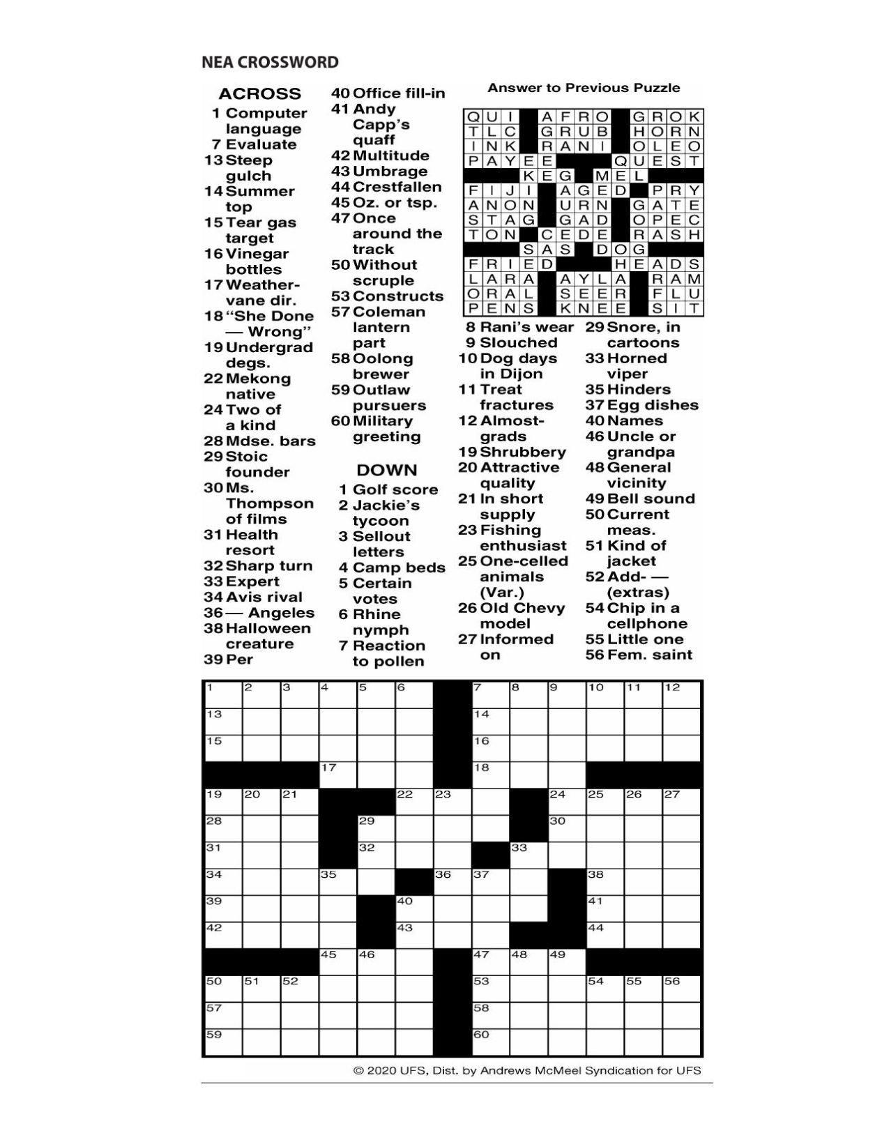 Printable Crossword For June 3 2020 Logandaily Com