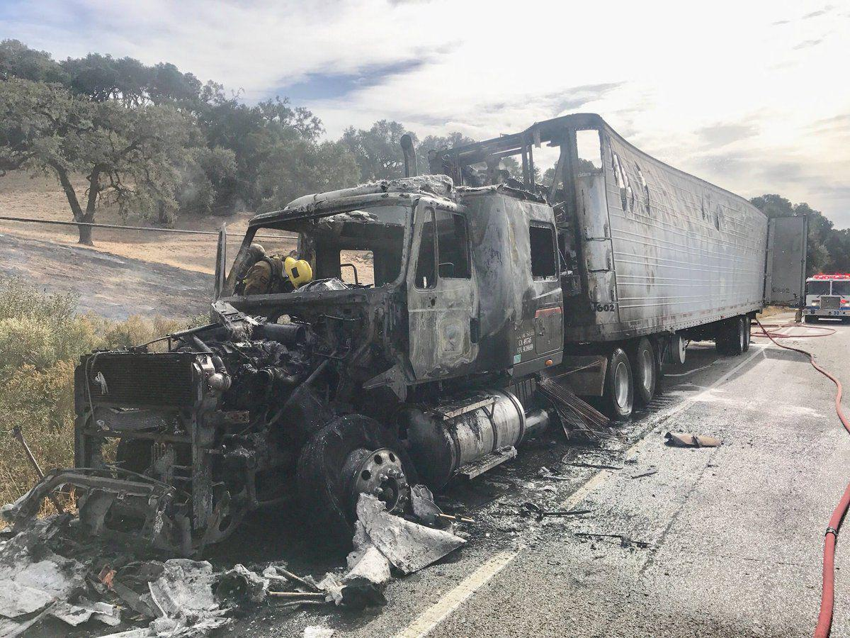Big-rig destroyed by fire on Hwy 101