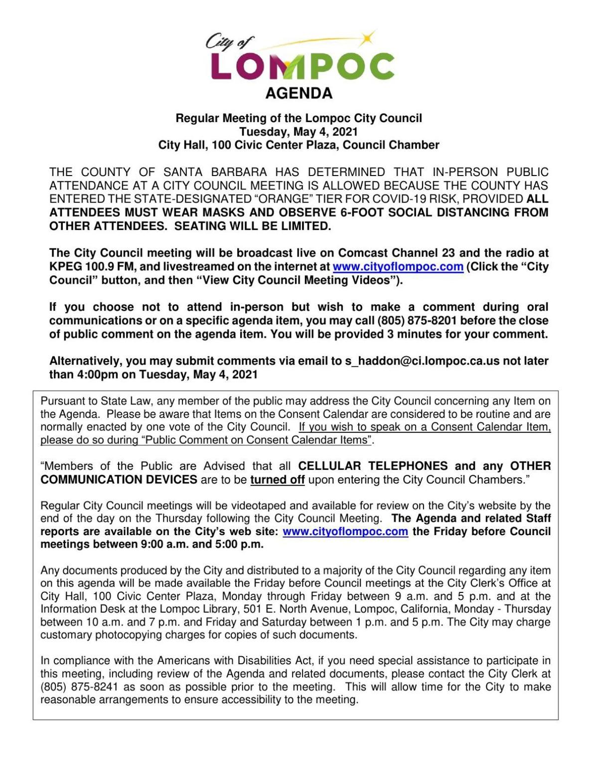 Lompoc City Council Meeting - May 4