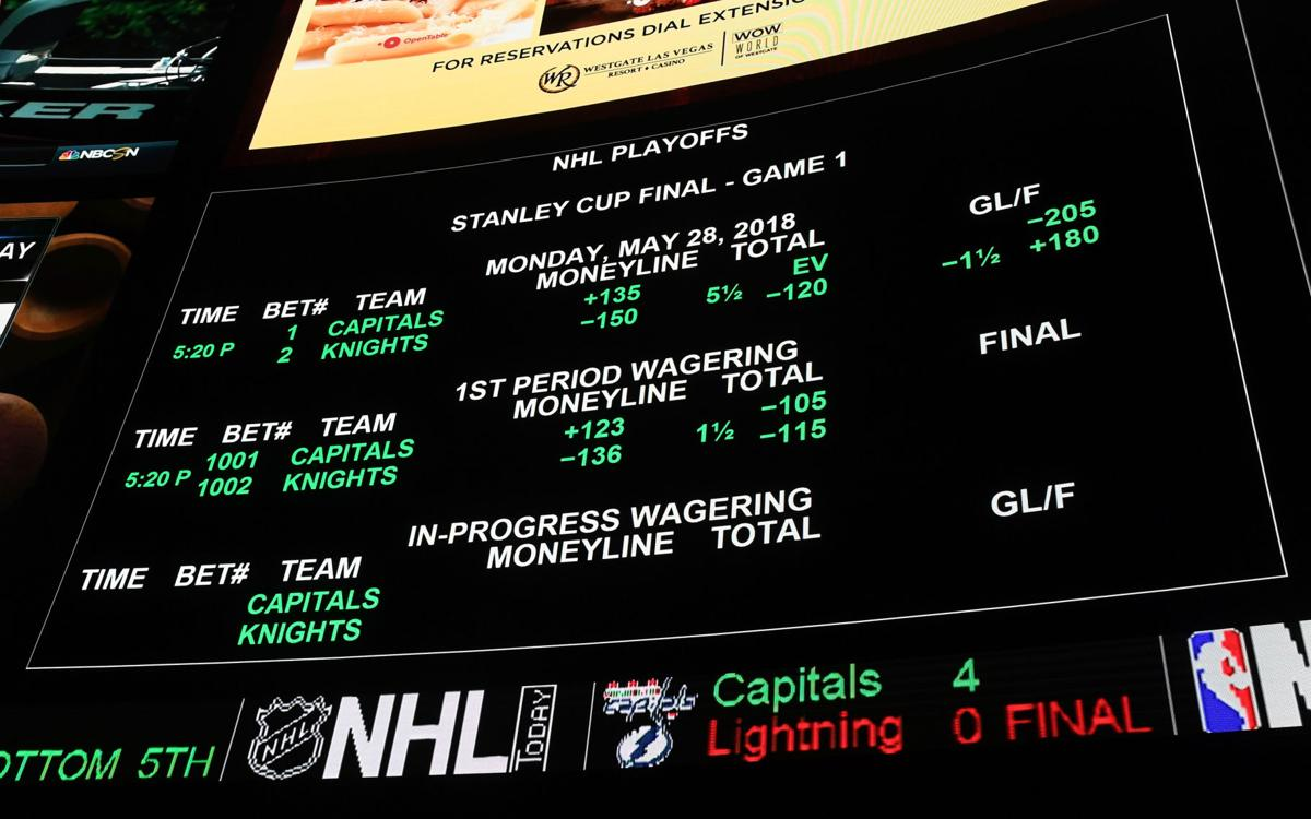 The betting line for Game One of the Stanley Cup Final shows the Vegas Golden Knights favored over the Washington Capitals at the Race & Sports SuperBook at the Westgate Las Vegas Resort & Casino on May 23, 2018 in Las Vegas, Nev.