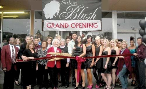 new business salon blush grand opening held local