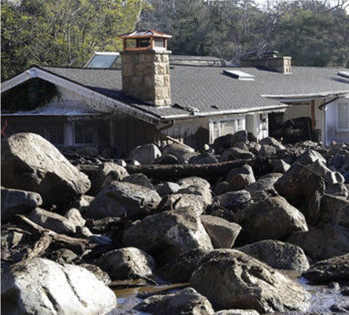 Montecito home surrounded by boulders