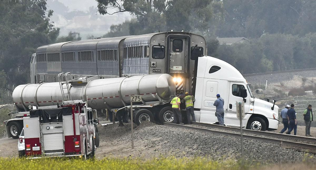 amtrak train strikes tanker truck south of guadalupe no injuries