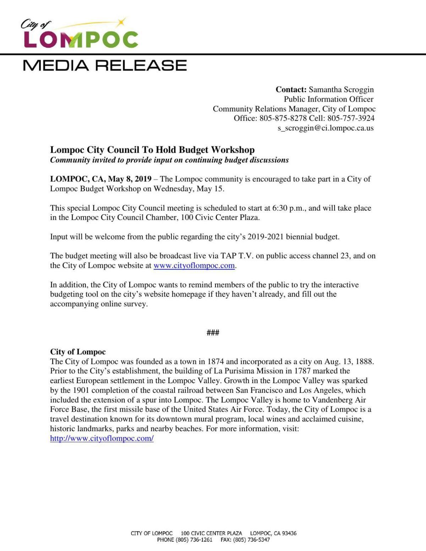 Lompoc Budget Workshop