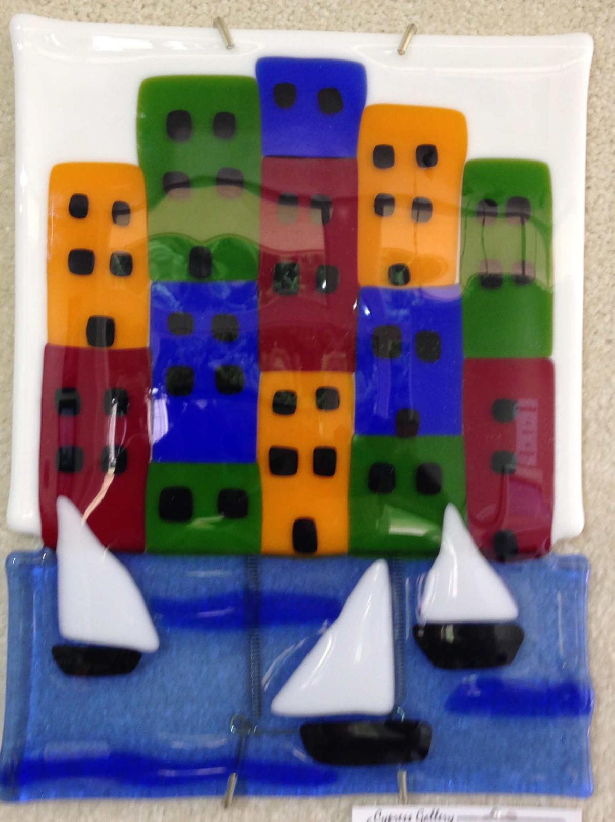 "Joellen Chrones' ""Cinque Terre, Italy"" of fused glass."