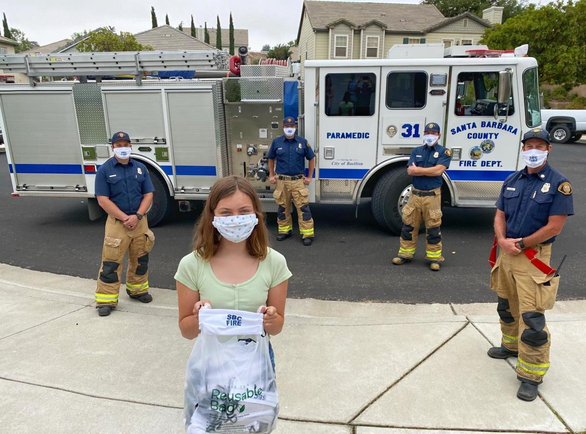 Kadence Freed delivers masks to County /fire