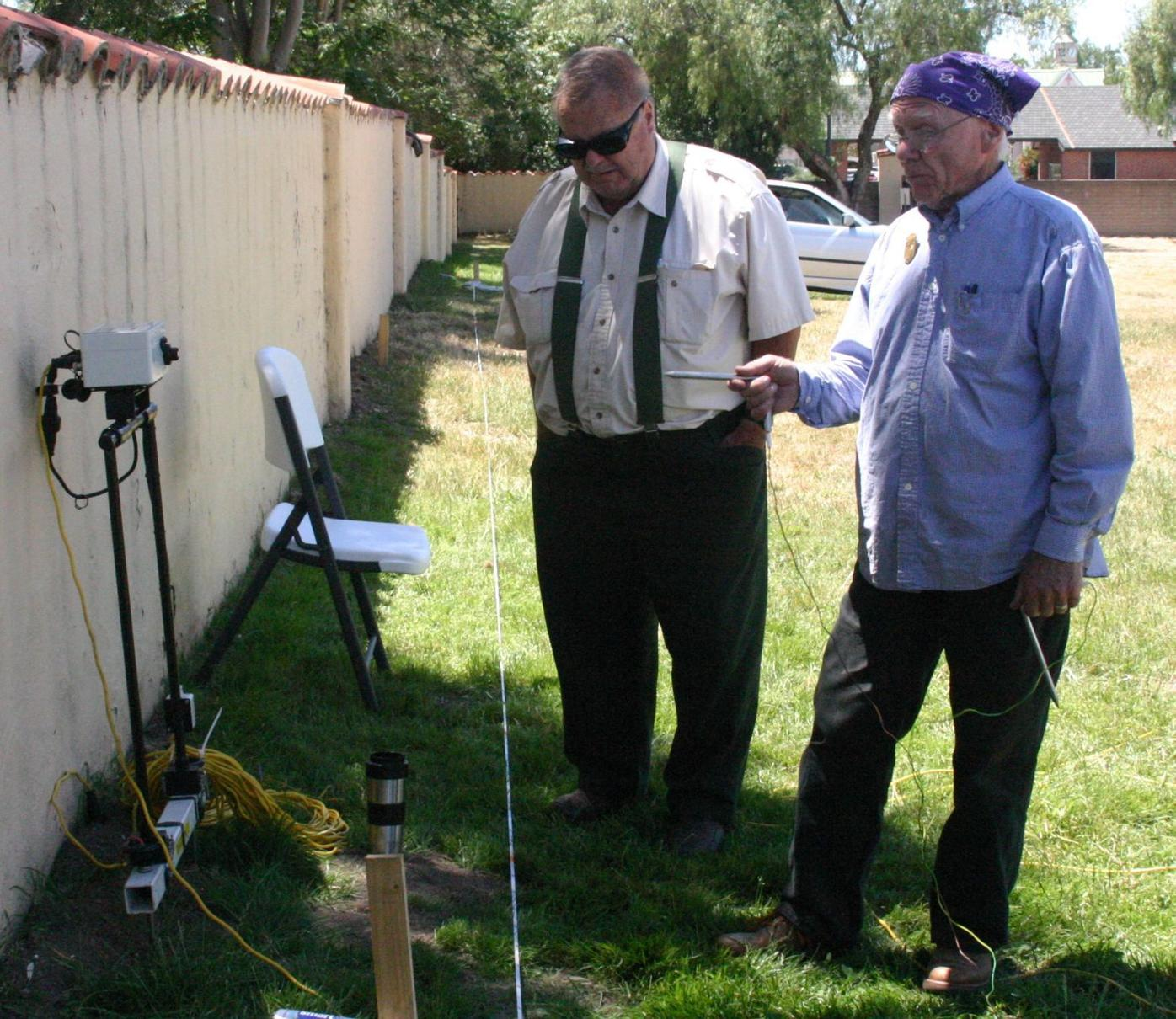 Somers and Hoover discuss resistance meter