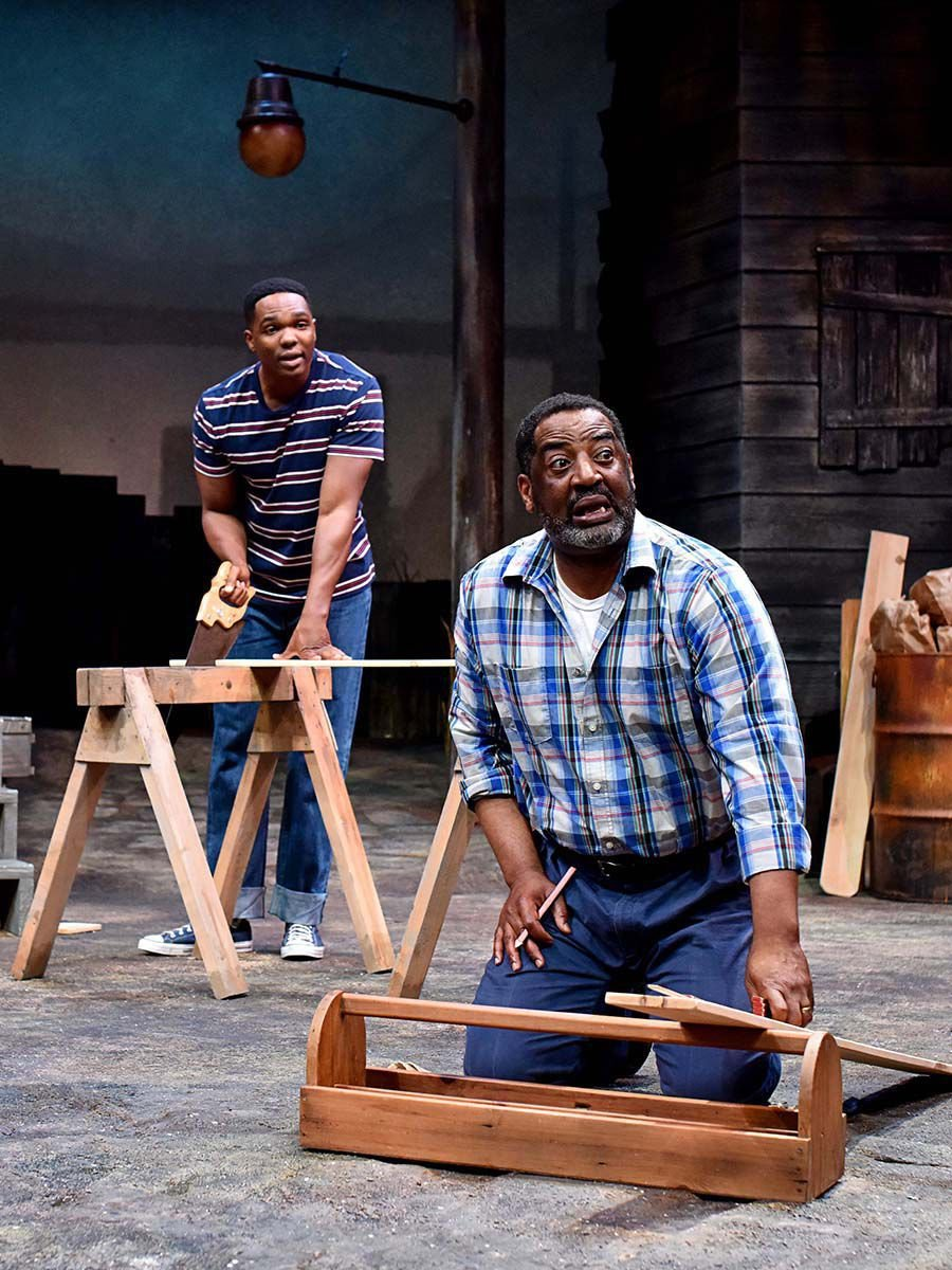 """Chris Mansa, as Cory, left, and Derrick Lee Weeden, as Troy, in """"Fences."""""""