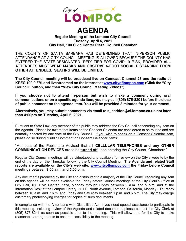 Lompoc City Council Agenda