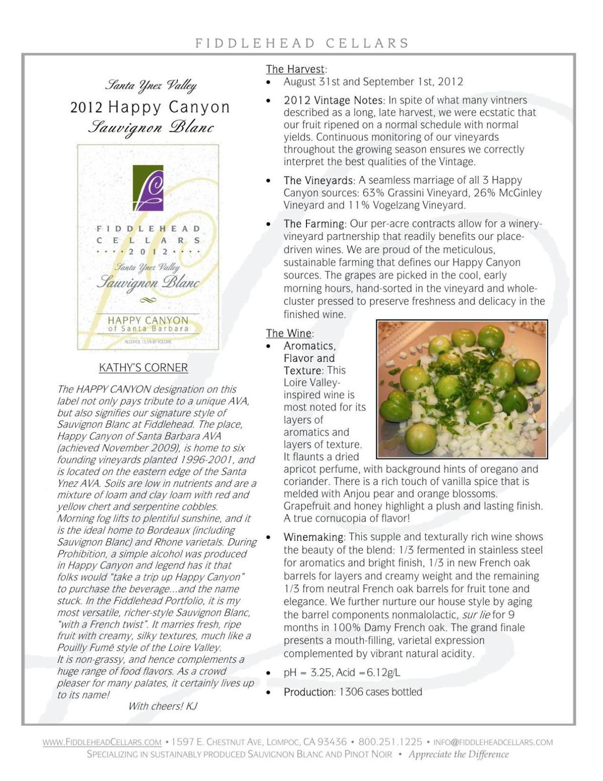 Fiddlehead 2013 Happy Canyon Sauvignon Blanc