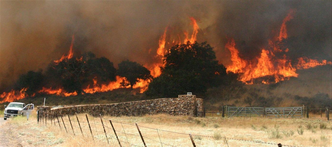 Mesa Fire at Zaca Lake Retreat entrance