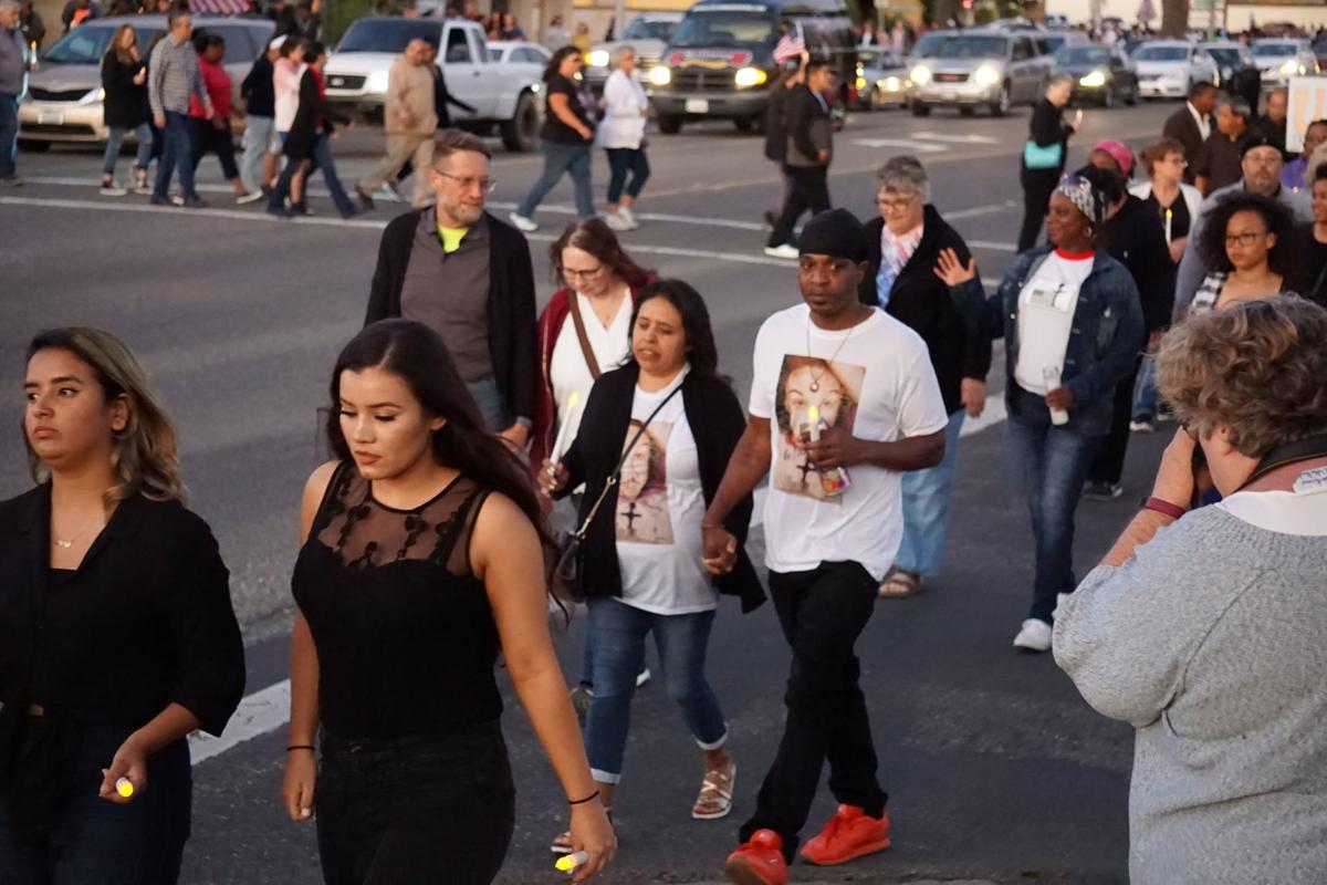 Photos: Lompoc community members march, rally in honor of slain soldier