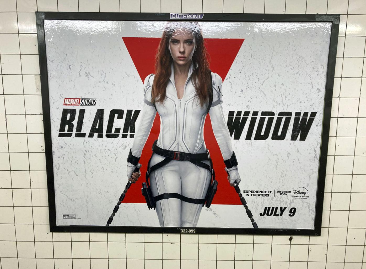 """Marvel Studios """"Black Widow"""" promotional poster in NYC - 6/27/21"""