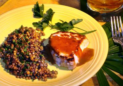 FOOD-QUICKFIX-MCT -- Whiskey pork, lentils