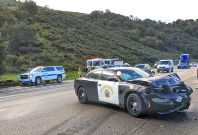 Spinning car hits parked CHP unit on Hwy 101 near Gaviota