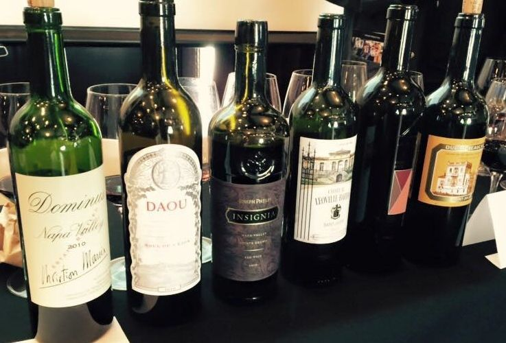 The line-up of six Cabernets