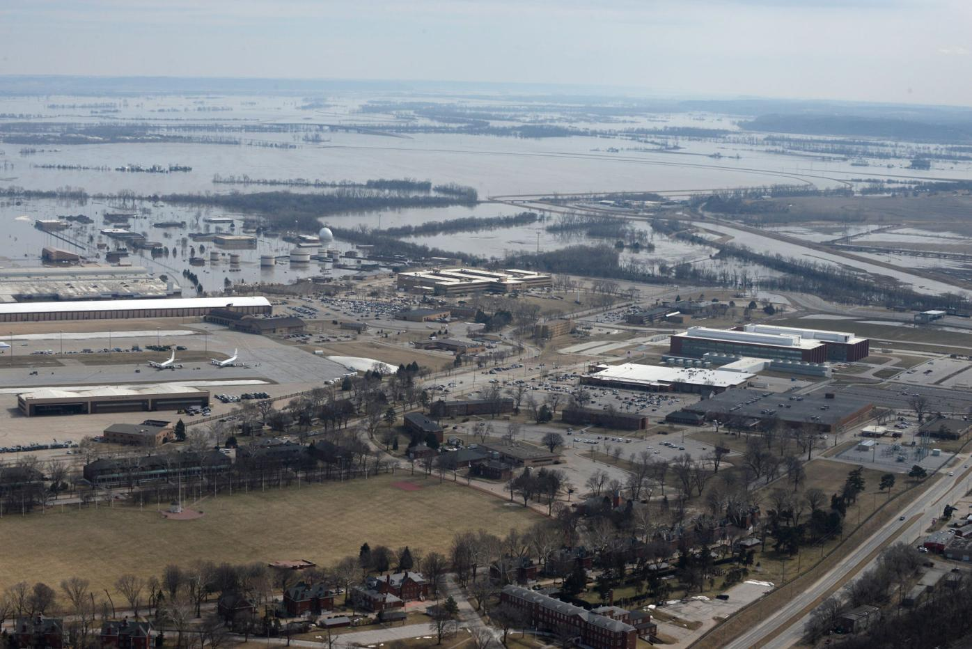 Shown is an aerial view of Offutt Air Force Base, Neb.
