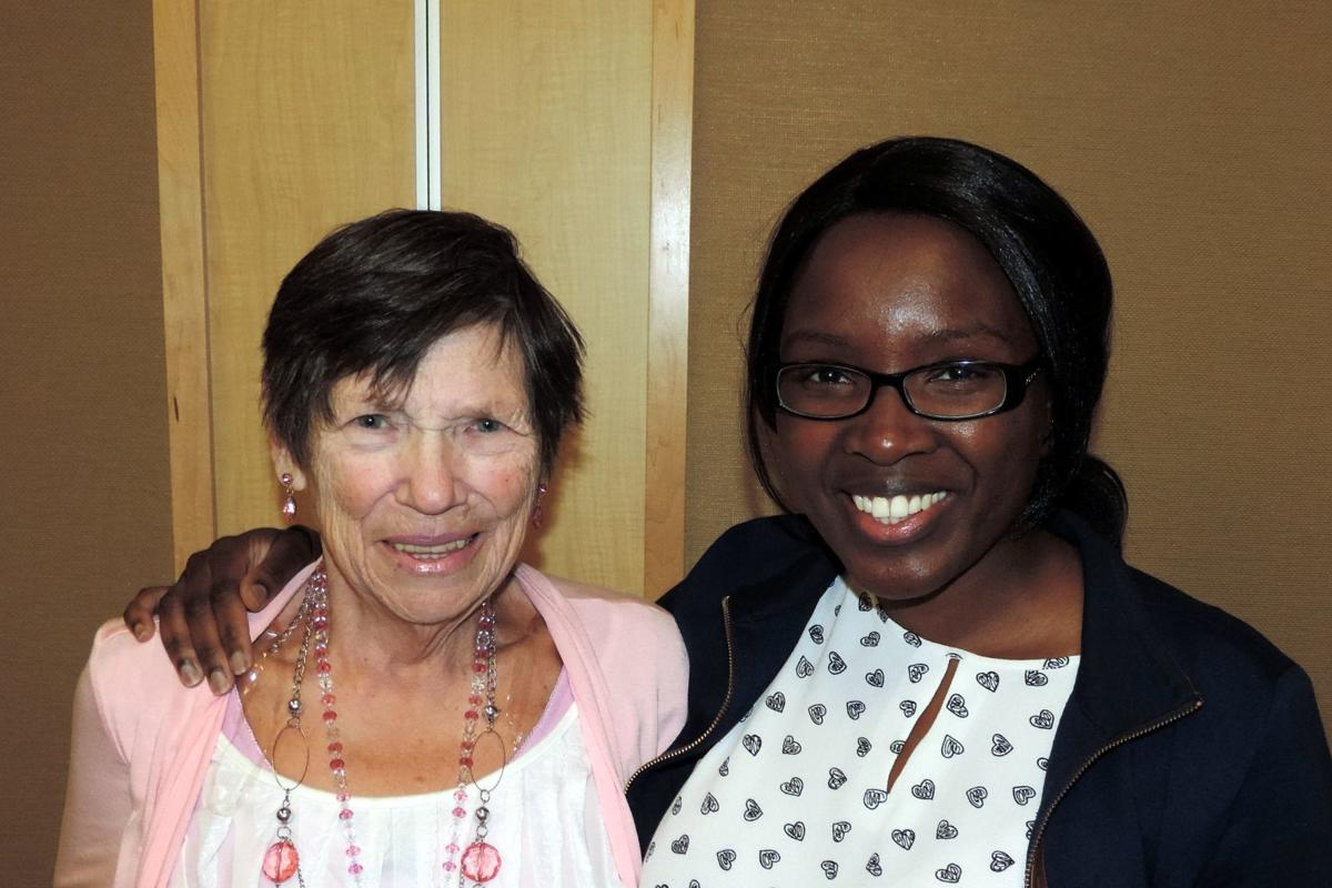 LVMC Auxiliary President Mary Brown and Dr. Nancy Mutoro