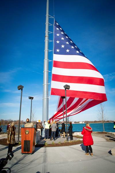 NWI's largest flag raised over Hammond